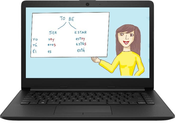Laptop showing female teacher giving Spanish class