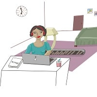 Sporting Woman at Room taking online Spanish class