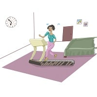 Sporting Woman on treadmill at Room running late