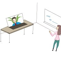 Woman teaching online spanish class to man in a laptop