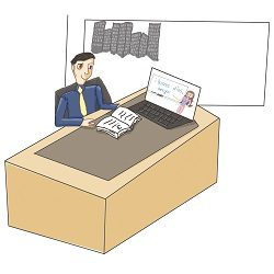 Business man taking Online Spanish Class at Office